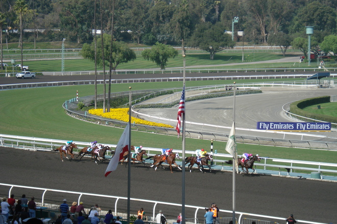 Horse races at Santa Anita Park.
