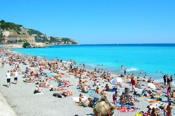 Nice Beach in the French Riviera is always jam-packed with sunbathers.