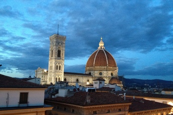 An evening view of the Duomo in Florence, Italy.