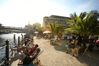 Chilling on the beach at Strandbar Mitte in Berlin.