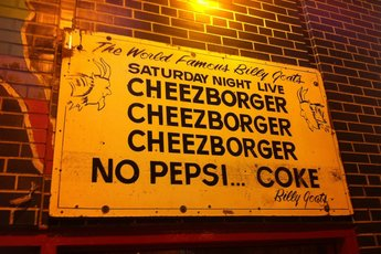 Famous cheezborger sign outside Billy Goat Tavern.