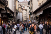 Tourists admiring the jewelry shops in Florence.