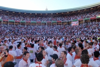 Inside the bullring after the Run in Pamplona.
