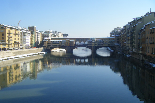 View of the Ponte Vecchio in the winter season.