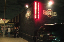 People chilling outside the entrance of the 4100 Bar in Los Angeles.