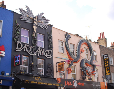 Eclectic designs decorate shop buildings in Camden Town / Islington.