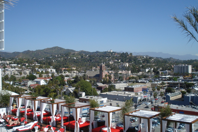 Sneaking a peak at The Griffith Observatory from one of many hotel rooftop pools