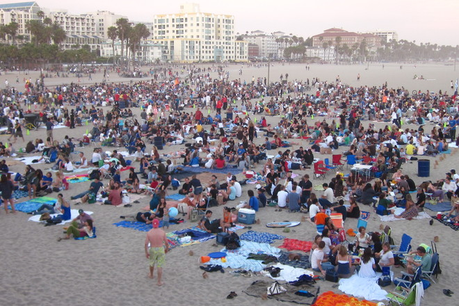 A crowded summer day at Venice Beach.