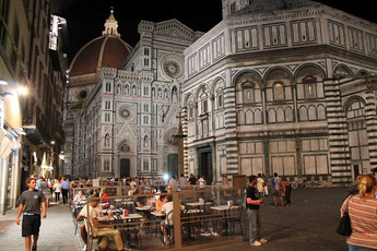 The Basilica di Santa Maria del Fiore (The Duomo) at night.