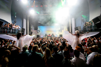The crowd enjoys a DJ set at the Avalon in Hollywood.