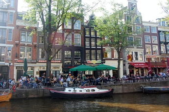 Canal-side cafés in Oude-Zijds, Amsterdam.