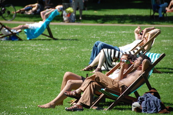 St. James's Park in London is a perfect place to relax and catch a summer tan.
