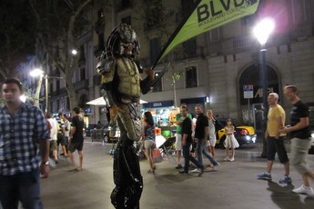 Late-night craziness on Las Ramblas.