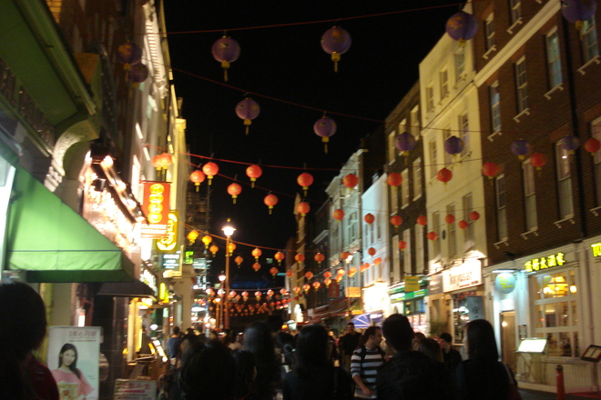 Crowded streets in London's Chinatown.