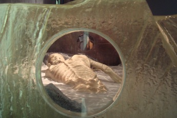Ötzi: The Ice Mummy - Art Exhibit in Barcelona.