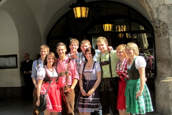 Posing in dirndls at the Hofbruhaus in Munich.