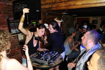 DJ firing up the crowd at Mehanata Bulgarian Bar in New York!