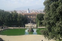 View of the Palazzo Pitti from the Boboli Gardens in Florence. 