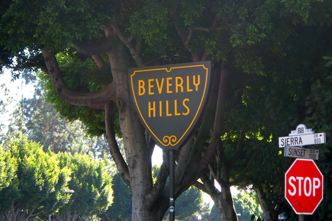 One of the Beverly Hills signs as you enter the neighborhood.